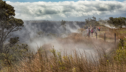Gas escaping from the ground on the Big Island of Hawaii
