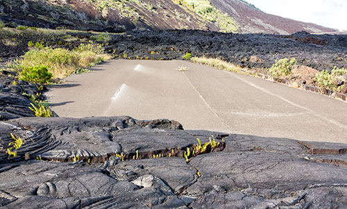 Lava flowing over the road